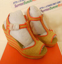 COACH GENEVA WEDGE NATURAL/BRIGHT CORAL Platforms Shoes  A0845 Size 9 M  NEW!