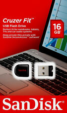 New Sandisk 16GB Cruzer FIT USB 2.0 Flash Mini Pen Drive SDCZ33-016G-A11 RETAIL