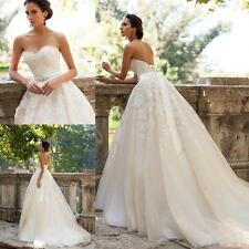 New Strapless A-line White/Ivory Lace Bridal Gown Wedding Dress Custom Size 6-16