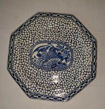 Adams Chinese Bird Octagon  Plate Vintage Blue and White Pottery