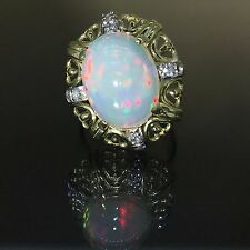 estate 14k gold natural solid Fire OPAL & Diamond vintage solitaire ring 4.35ctw