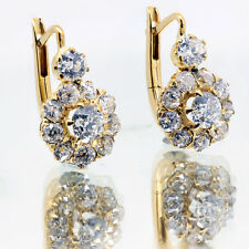 1.52 Ct Earrings Old Miner Cut Round Diamond  E Vs2  22k Yellow Gold
