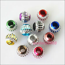 35 New Charms Mixed Silver Carved Lantern Aluminium Spacer Beads 6mm
