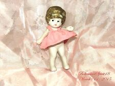 ANTIQUE JAPAN BISQUE FROZEN CHARLOTTE JOINTED ARMS PINK DRESS MINIATURE DOLL