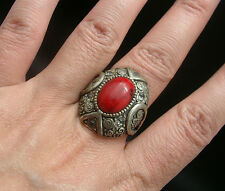 SUPERBE BAGUE ARGENT TIBETAIN STYLE CORAIL taille 59 STYLE ANCIEN