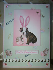 Handmade Bulldog Puppy Easter Card Dog Sunday Happy Wuff Brindle Eggs Pink Green