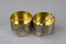 2 St.Salz Dose Salzstreuer mit Löffel Silber 84 Russland Salznapf