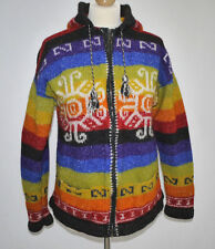 RETRO VINTAGE SOUTH AMERICAN CHUNKY KNIT RAINBOW WOOL WINTER HOODY CARDIGAN S