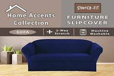 NAVY BLUE STRETCH-FIT JERSEY 1PIECE SOFA SIZE COVER  STRIPES FURNITURE SLIPCOVER