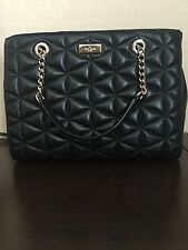 Kate Spade Meena Emery Court Black Leather Embossed Handbag