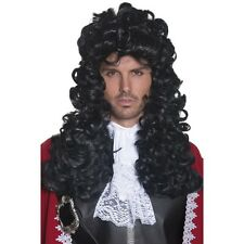 Mens Pirate Captain Wig Fancy Dress of the Caribbean French Long Curly Fun Black