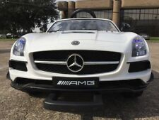 White Mercedes SLS V12 Kids Ride-On Car LED Wheels &Remote Control Luggage bar