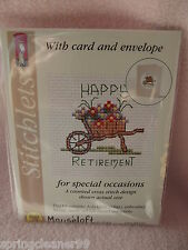 MOUSELOFT STITCHLETS CROSS STITCH KIT ~ HAPPY RETIREMENT ~ CARD & ENVELOPE ~ NEW
