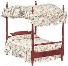 Double Canopy Bed Dolls House Miniature Bedroom Furniture 1.12 Scale