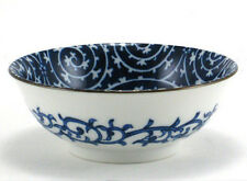 """Set of 2 PCS 7.5"""" Japanese Rice Soup Noodle Bowl Blue/White Spiral Made in Japan"""