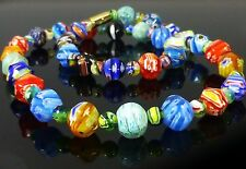 Millefiori Lampwork Glass Necklace, Vintage Look