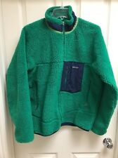 Patagonia Retro X Fleece Jacket Medium Green Navy Blue EUC