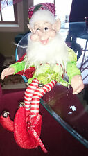 """14"""" BENDABLE POSEABLE ORNATE LIME GREEN &  RED CHRISTMAS ELF PIXIE ~ NEW"""