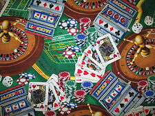 CASINO ROULETTE SLOTS POKER CARDS VEGAS GAMING CARDS COTTON FABRIC FQ