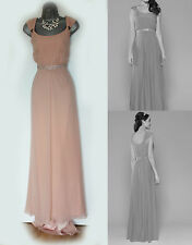 *MONSOON*Nude/Peach Silk Lainie Fishtail Embellished Bridesmaid Maxi Dress sz-12