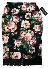 NWT ROSES PEONY FLOWER FLORAL BLACK PENCIL SKIRT STRETCHY LACE BURGUNDY TEAL L