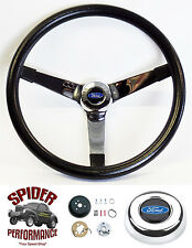 "1965-1966 Ford pickup steering wheel BLACK CHROME 14 3/4"" Grant steering wheel"