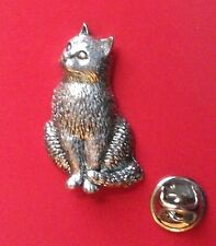English Pewter Pussy Cat, kitten Pin Badge Tie Pin / Lapel Badge A15