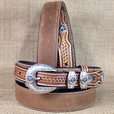 46 INCH WESTERN NOCONA LEATHER RANGER STAR CONCHO BROWN MENS BELT