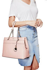 NWT GUESS Janette Logo Embossed Tote Girlfriend Satchel Handbag Purse Pink