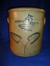 Circa 1870 Midwestern Stoneware 5 Gallon Crock with Double Leaf Decoration