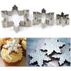 X 3pcs Snowflake Biscuit Cookies Cake Fondant Decorating Cutter Mold Mould Xmas