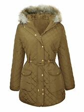 New Ladies Diamond Quilted Jacket Fur Hooded Winter Parka Coats  18-24