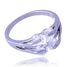 Fashion Womens Silver Ring White Gold Filled Crystal Crystal Ring Size 6