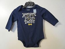 """babyGap Baby Boy """"Handsome Just Like Daddy"""" Blue One Piece Top Size 3-6 mo NWOT!"""