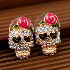 1 Pair Woman Crystal Rhinestone Skull Rose Flower Ear Stud Earrings Jewelry Gift