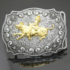 Western Cowboy Gold Texas Bull Rider Matador Rodeo Engraved Flower Belt Buckle