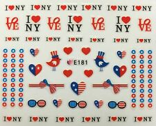 Nail Art 3D Decal Stickers I Love New York USA Red White & Blue America E181