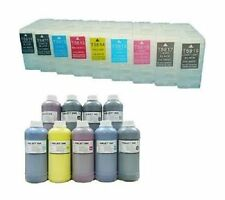 9 cartucce per Epson Stylus Pro 3800 3880 per 250ml REFILL INK sistema REFILLABLE