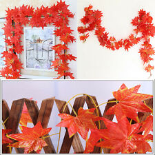 2.3M Stylish Red Autumn Leaves Garland Maple Leaf Vine Fake Foliage Home Decor