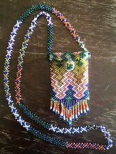VTG Colorful Beaded Glass Seed Bead Necklace Pouch Medicine Bag Hippie Festival
