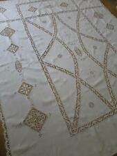 Beautiful Antique Irish Linen Bed Cover- Lovely Hand Made Bobbin Lace Trim