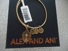 Alex and Ani CRYSTAL DOVE Rafaelian Gold Charm Bangle New W/Tag Card & Box