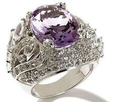 "Yours by Loren Pink Amethyst and White Topaz Sterling Silver ""Feather"" Ring Sz 5"