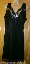 "LADIES BLACK FULL SLIP / PETTICOAT TO FIT  BUST 50""   (22/24)     (REF 1428)"