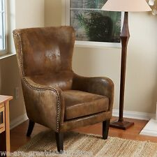 Elegant Design Aged Brown Microfiber Wingback Armchair w/ Nailhead Accents