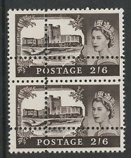 Great Britain   2910 - 1963 CASTLE 2s6d DOUBLE PERFS pair unmounted mint