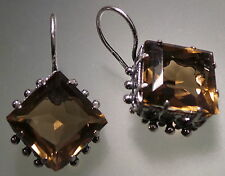 Silver plated Russian topaz color earrings crystal 17 by 17 mm filigree
