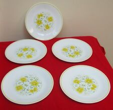 "5 Pc Set Vintage Corelle Corning Ware April Yellow Flowers Glass Plate 8"" ✞"