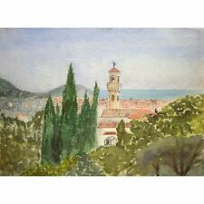 Unframed Unsigned Mid Century Mediterranean Townscape Watercolour Painting