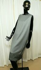 LORO PIANA 100% Cashmere Gray Tweed Sleeveless Shift Dress w/Leather Accents NEW